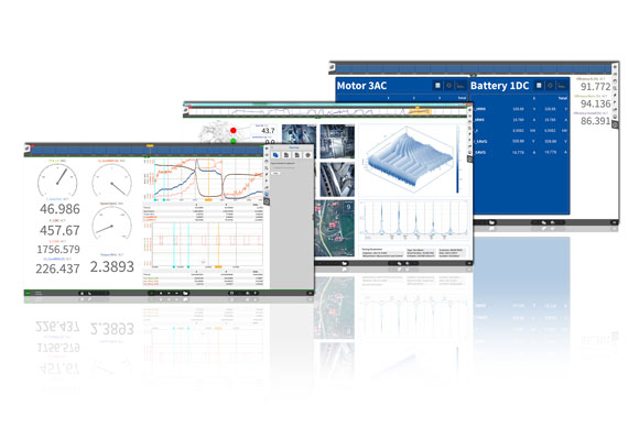 Screens of DEWETRON's measurement software OXYGEN