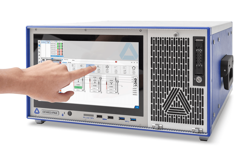 DEWE3-PA8 highspeed mixed singal Power Analyzer with a hand using the mutli-touch display