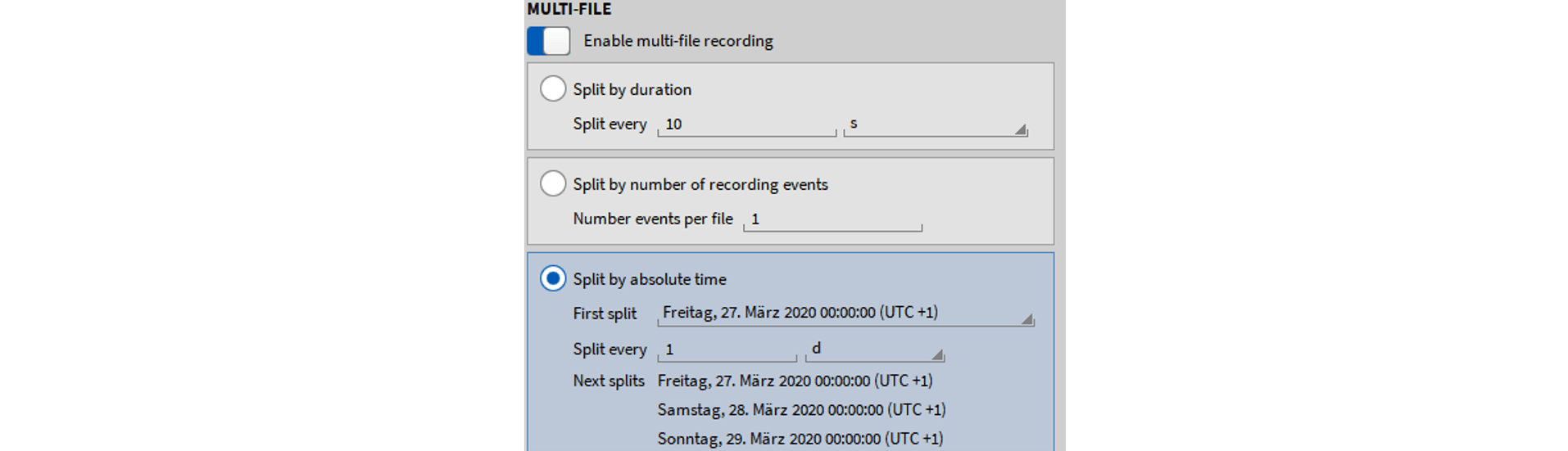 Explanation how to split files by time in OXYGEN 5.1