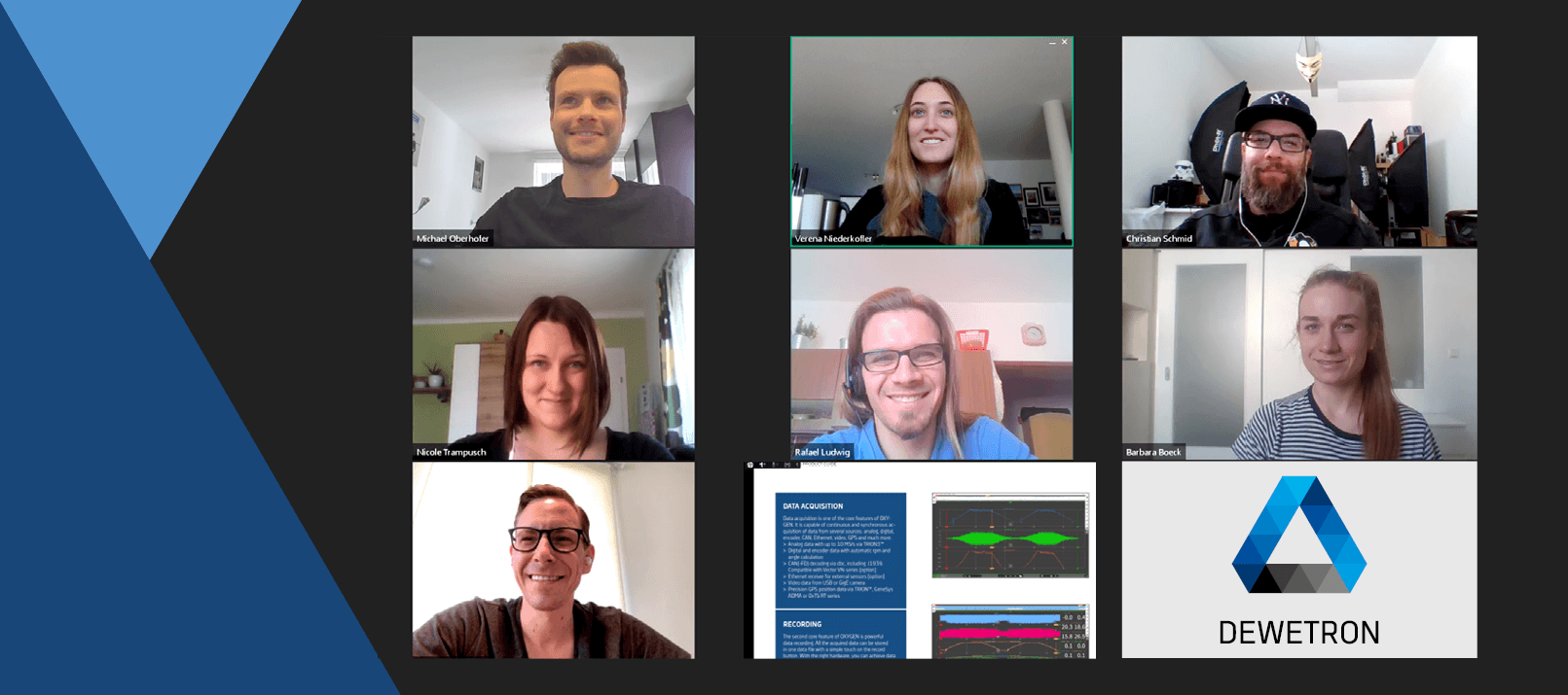 Screenshot of a DEWETRON Online Meeting in the Employees Home Office