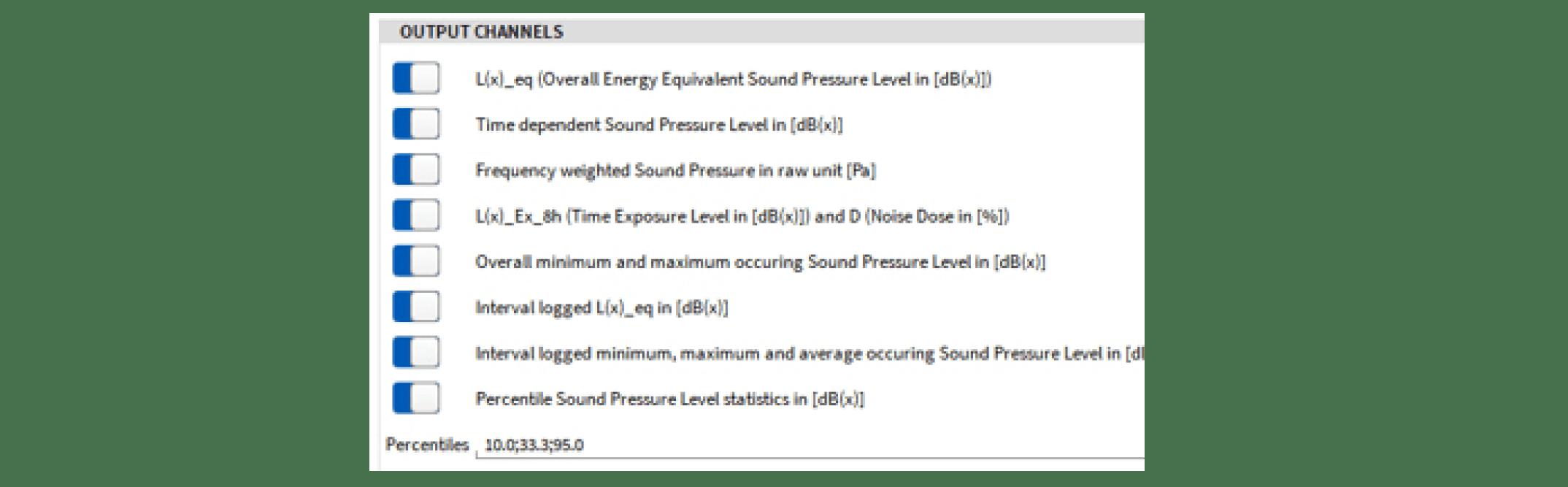 Sound Level Meter - Output Kanäle