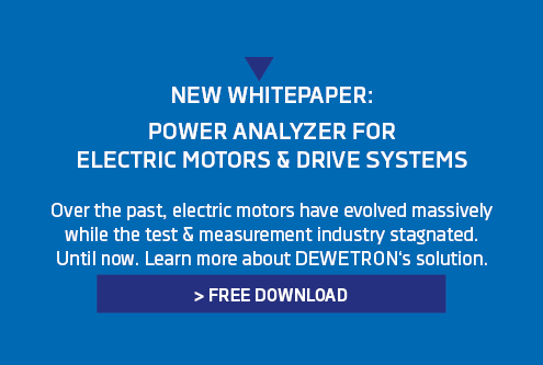 Banner for the whitepaper about power analyzers for electric motors