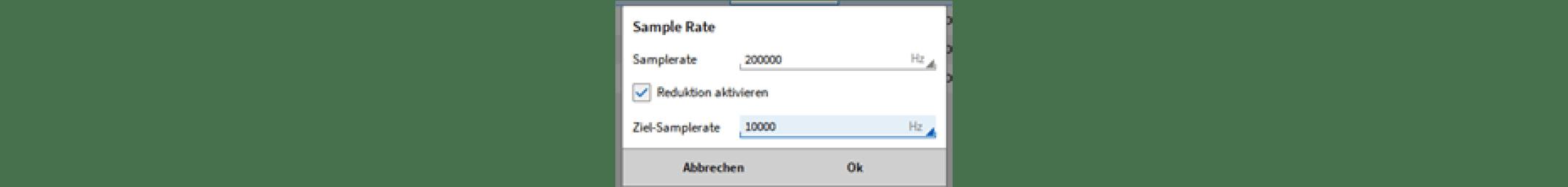 Fenster zum Aktivieren der Reduktion in OXYGEN 5.2
