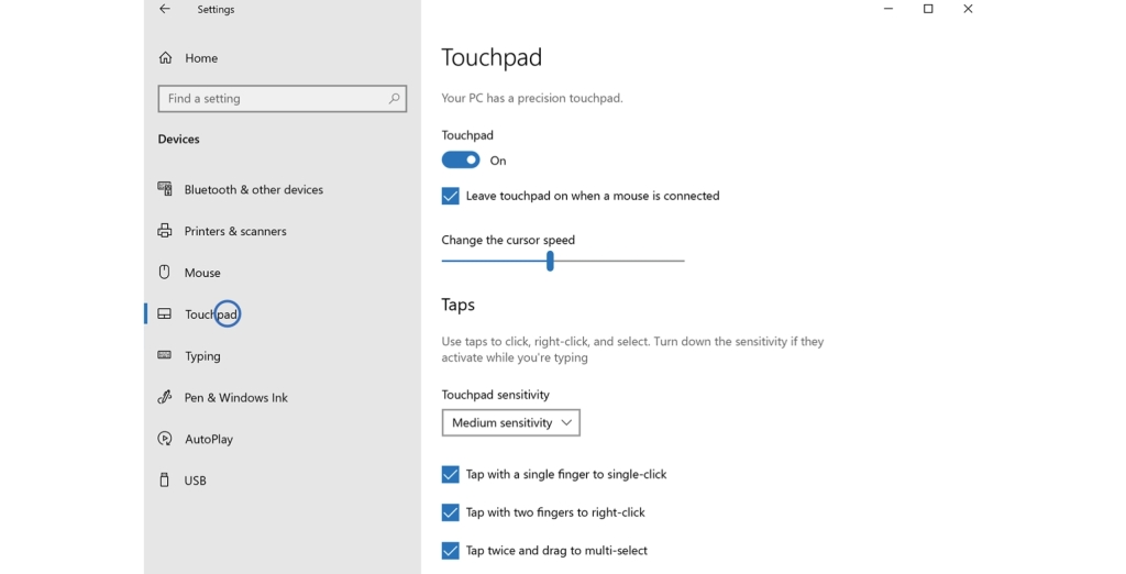 Screenshot of the touchpad settings of a Windows system